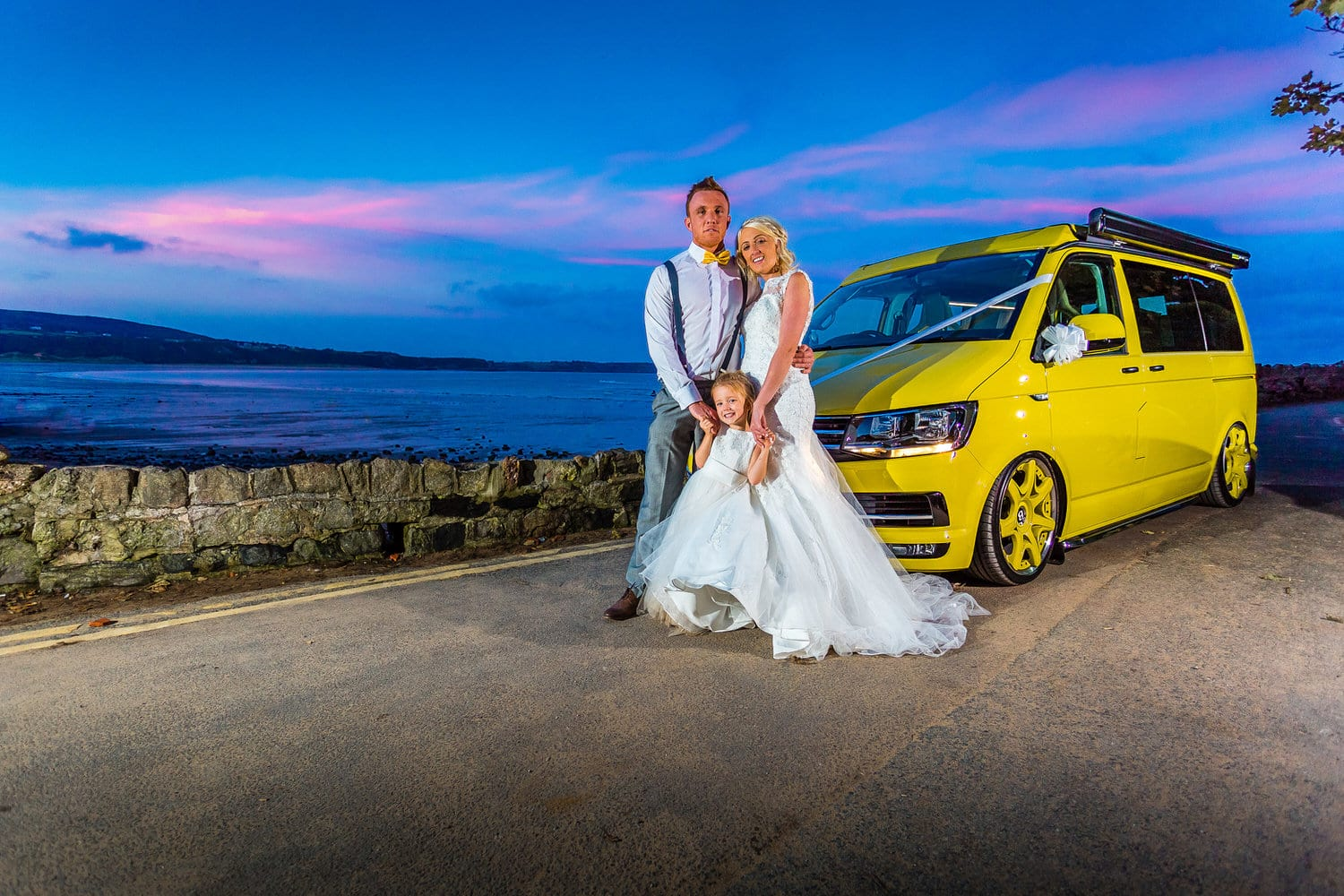 Family Wedding Photo in Front of VW Wedding Car at Oxwich Bay Ho