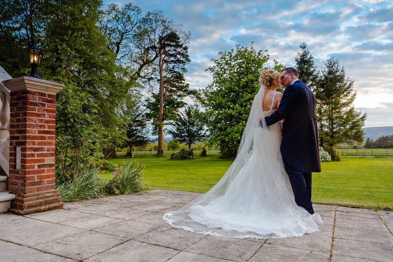 Kiss at Llansantffraed Court Hotel Wedding