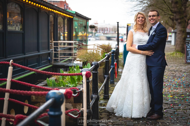wedding photos in bristol outside glassboat brasserie