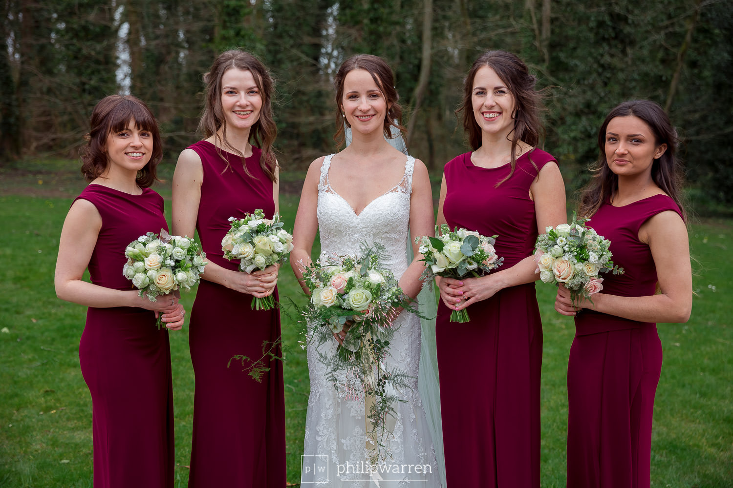 bridesmaids and bride with their bouquets