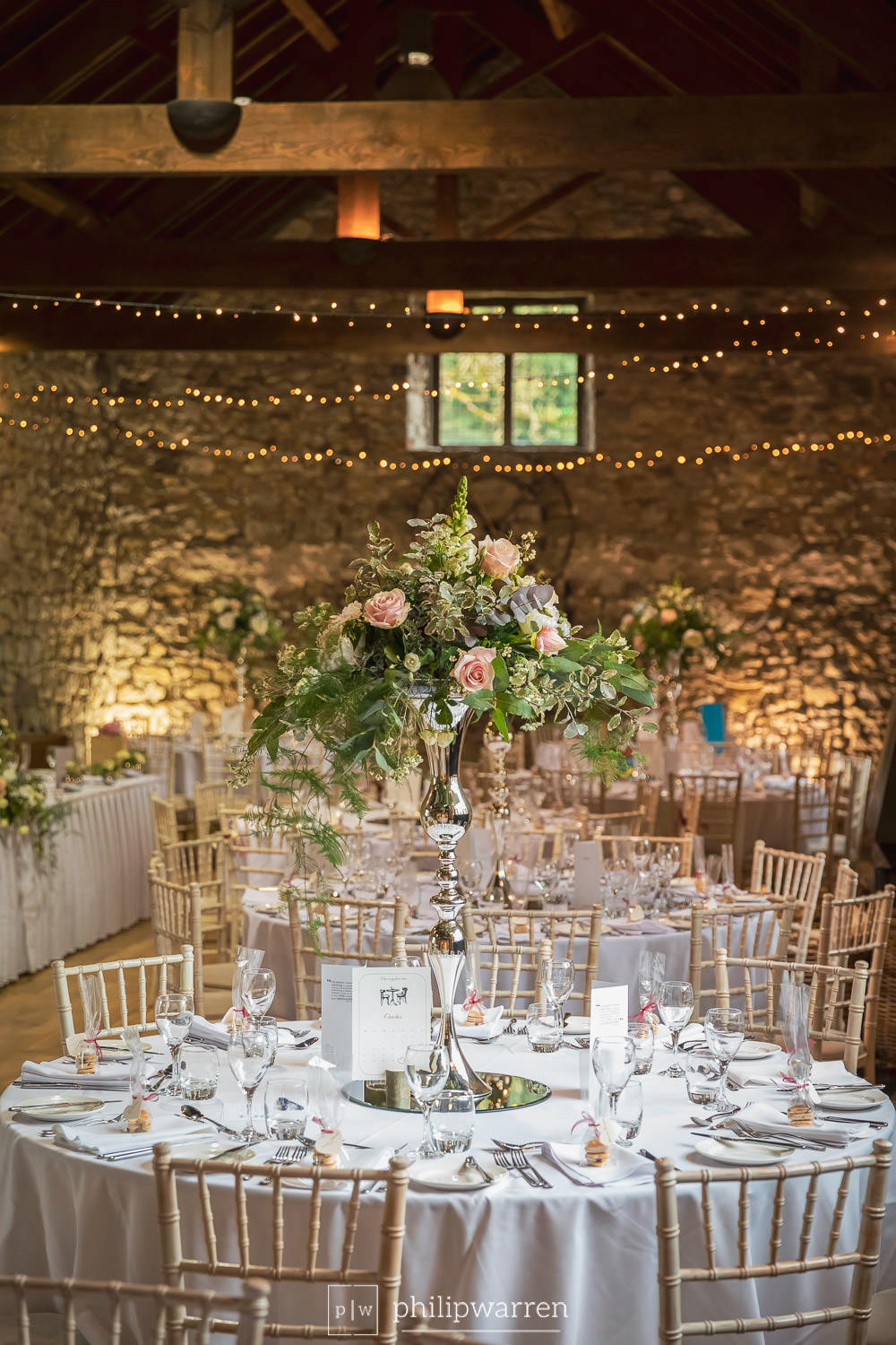 tables centres at pencoed house estate wedding