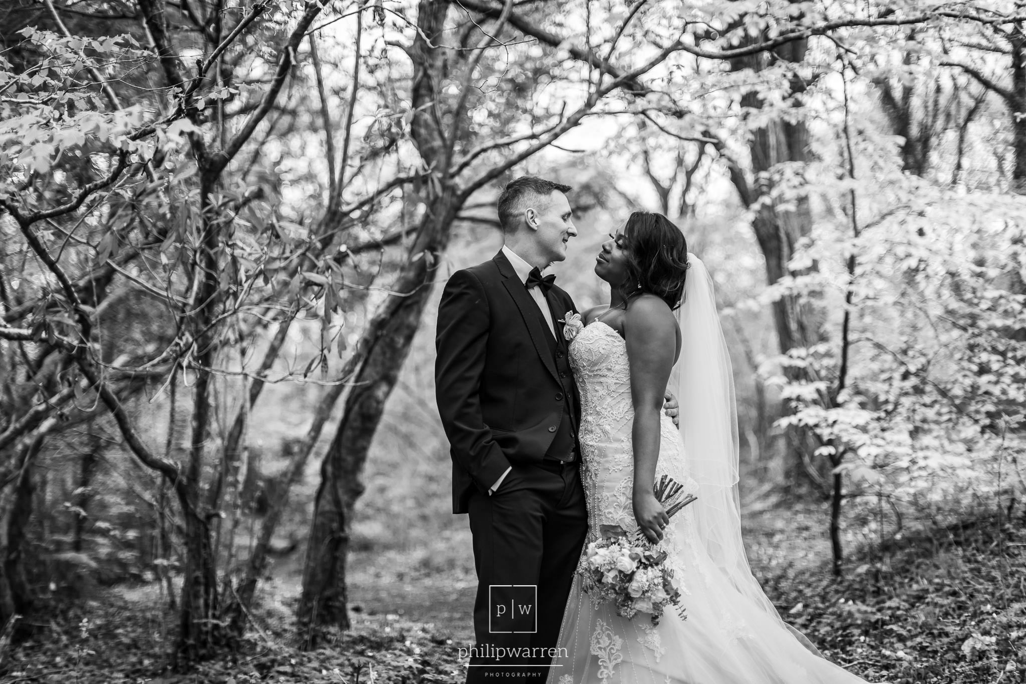 black and white photo of the bride and groom at brungarw house w