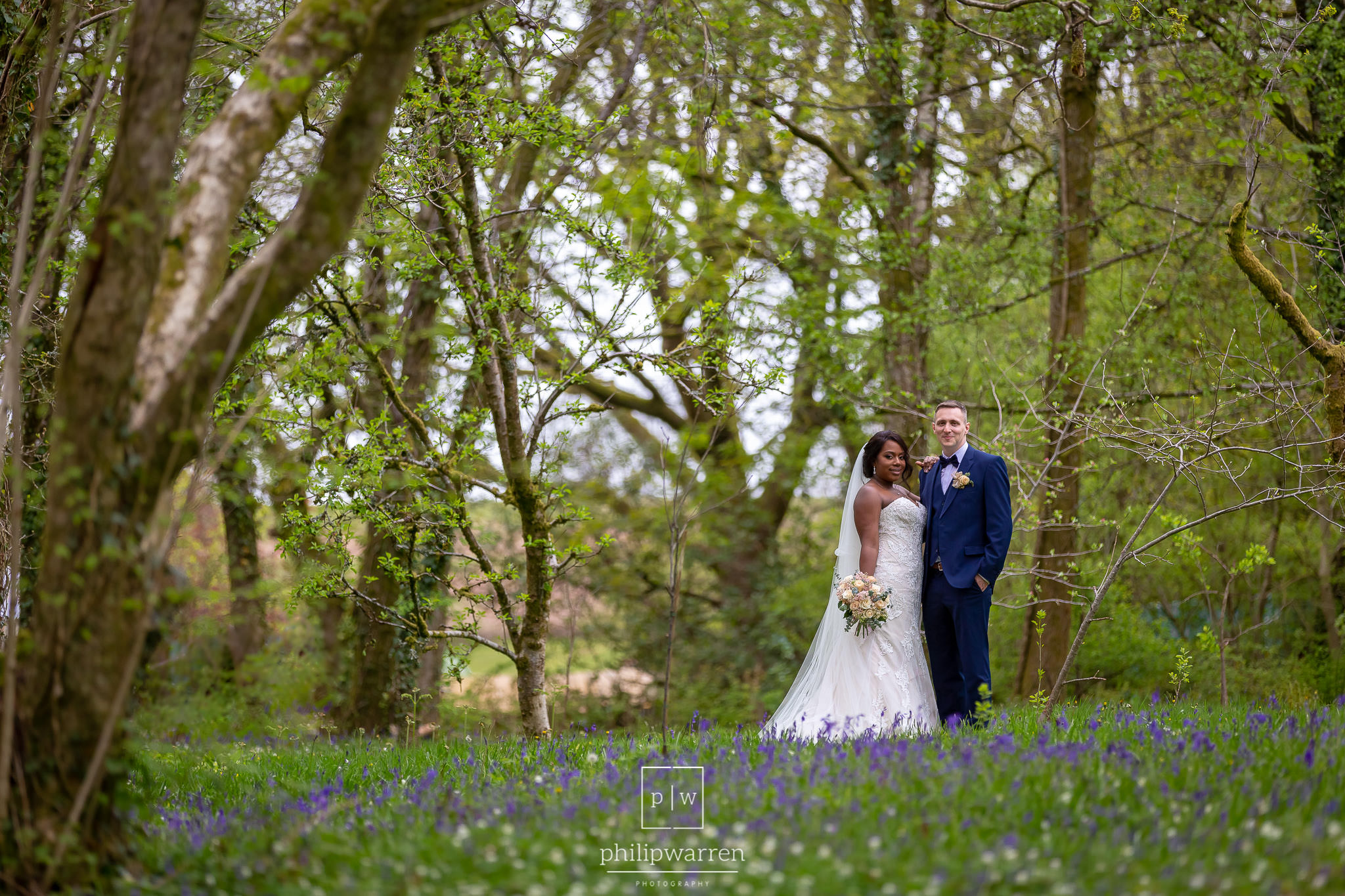 wedding photo in bluebells near bryngarw house hotel bridgend