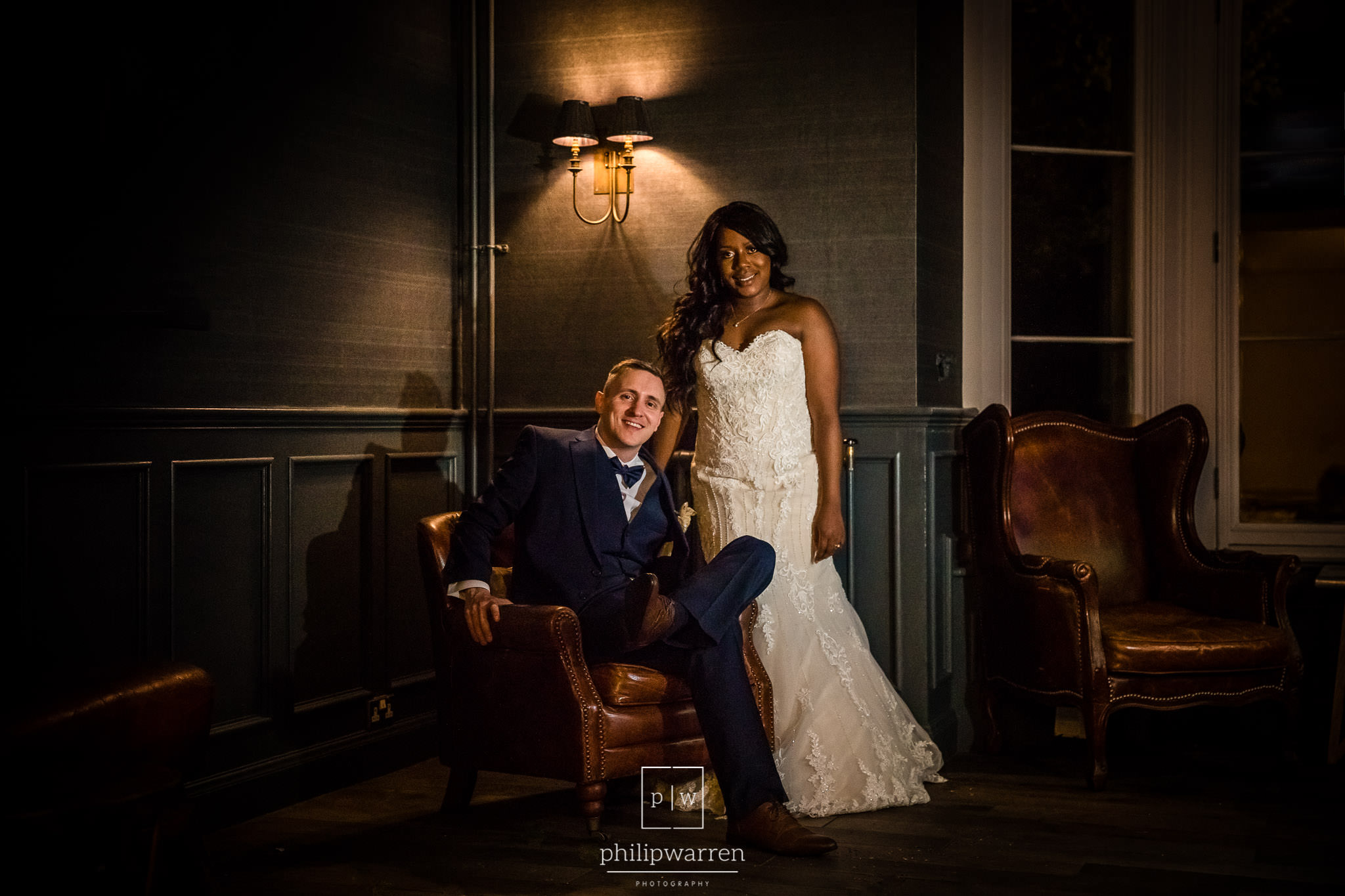 bride and groom in bryngarw house