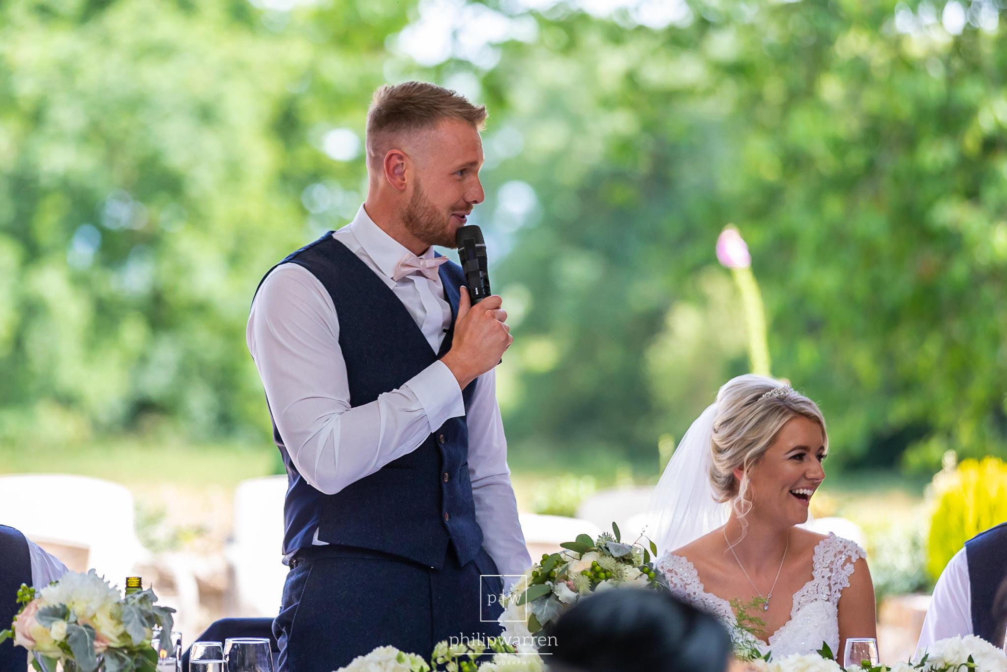 groom speech at the wedding in st tewdrics