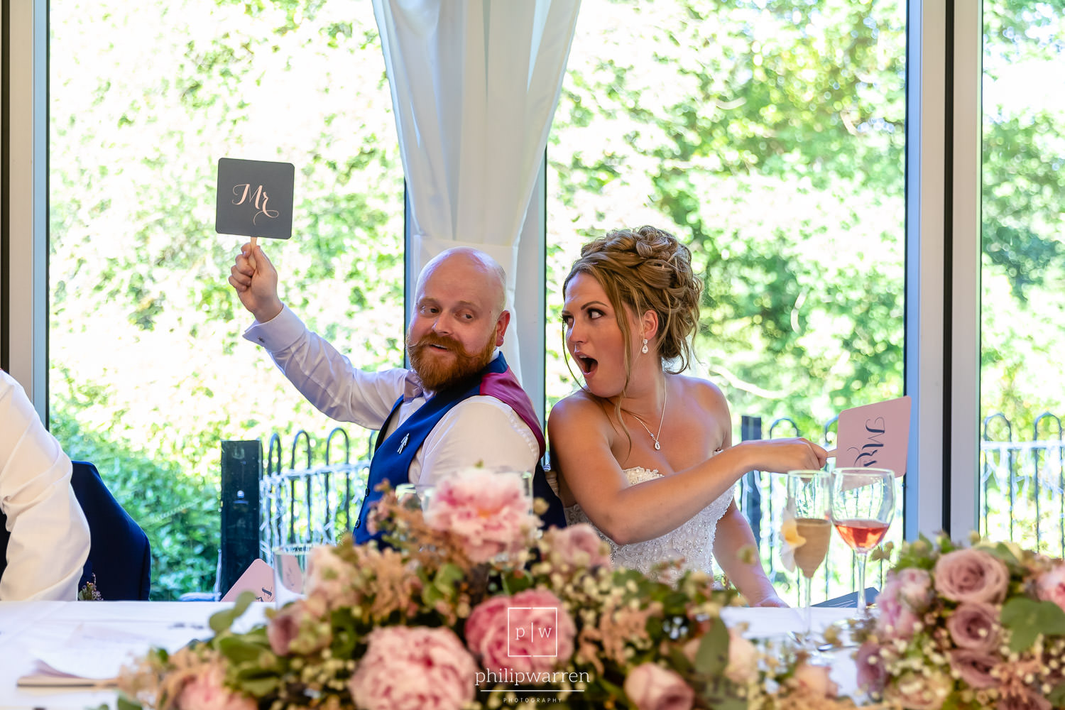 mr and mrs game during speeches at bryngarw house wedding