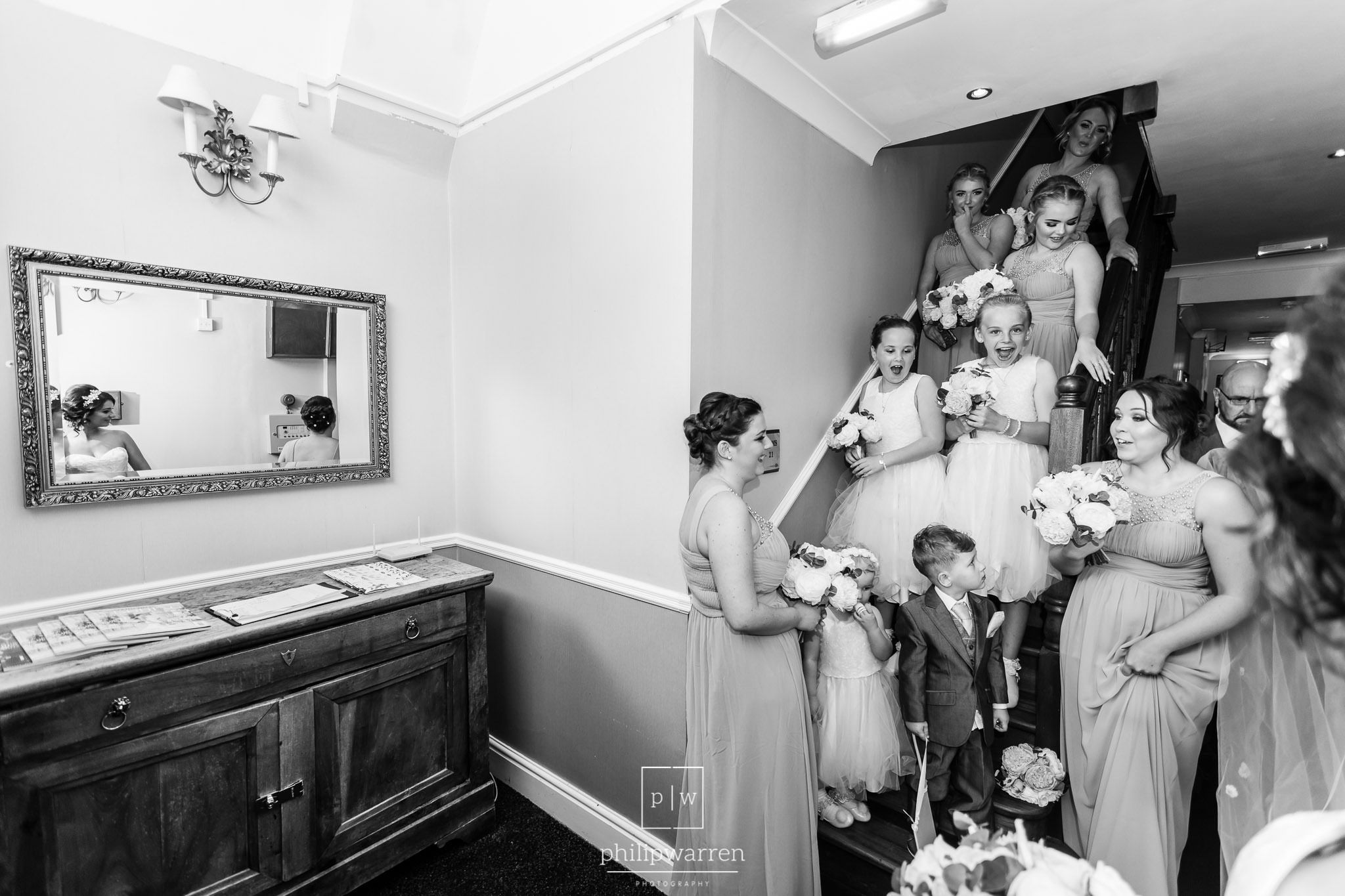 bridal party excited at bride arriving