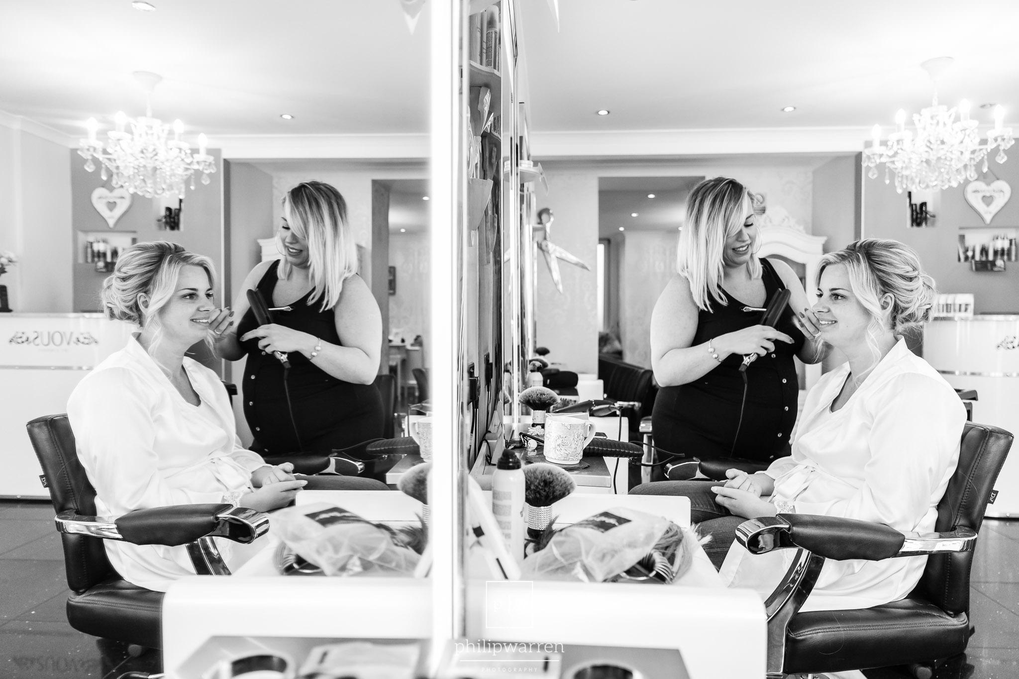 bride having wedding hair in vous by lindsey