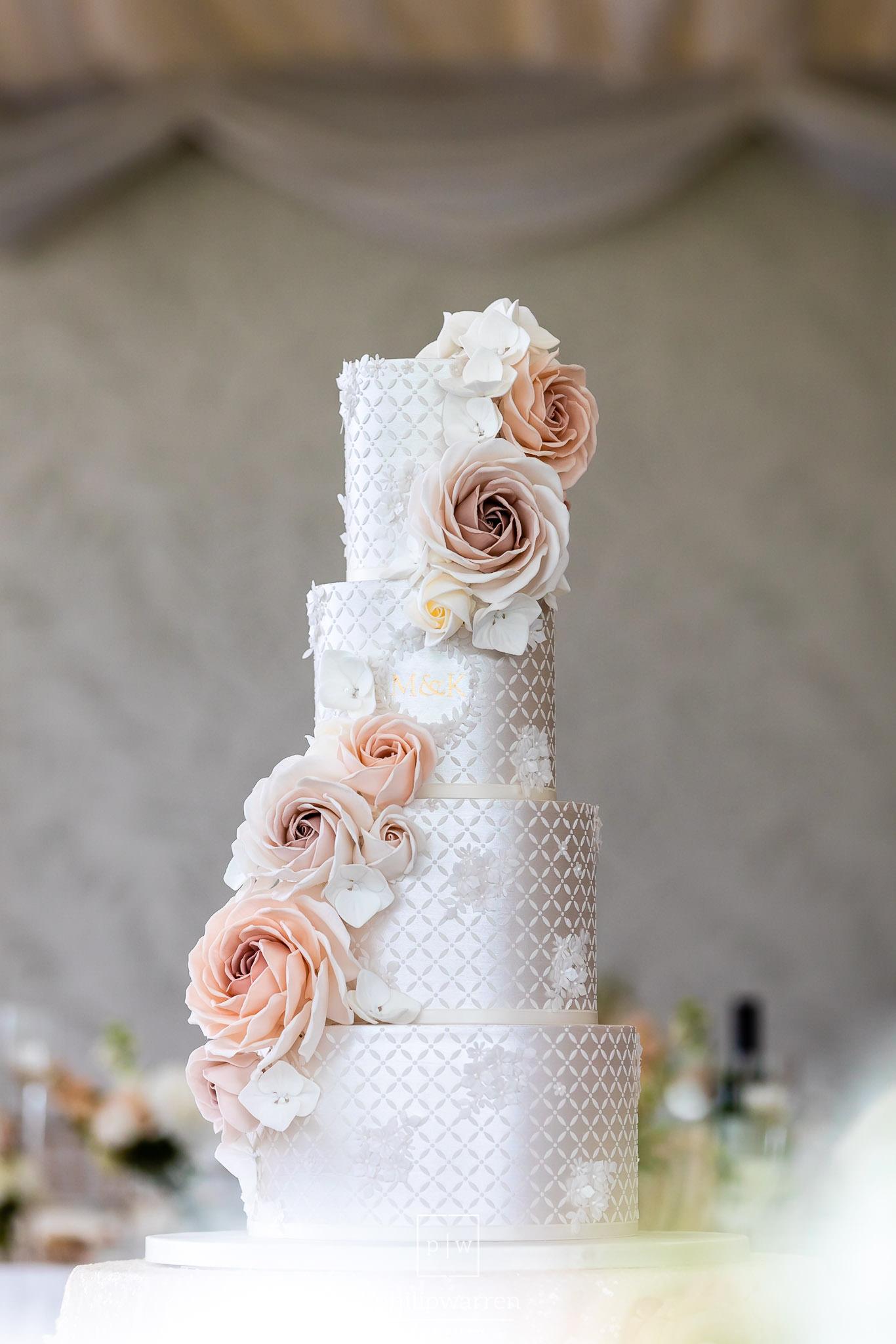 wedding cake at wedding breakfast