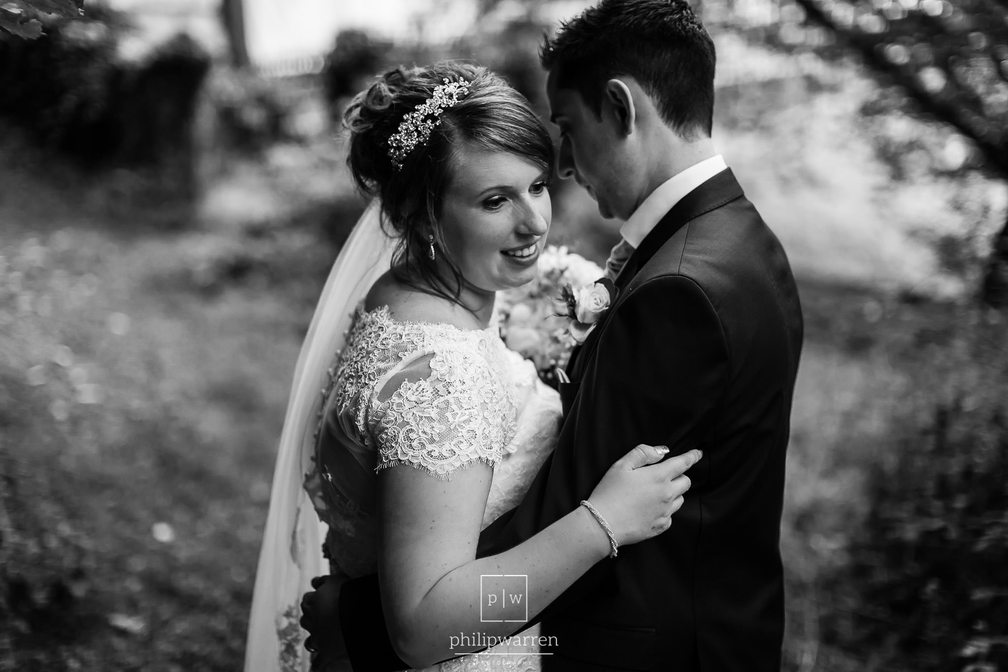 bride and groom portrait at new house hotel cardiff