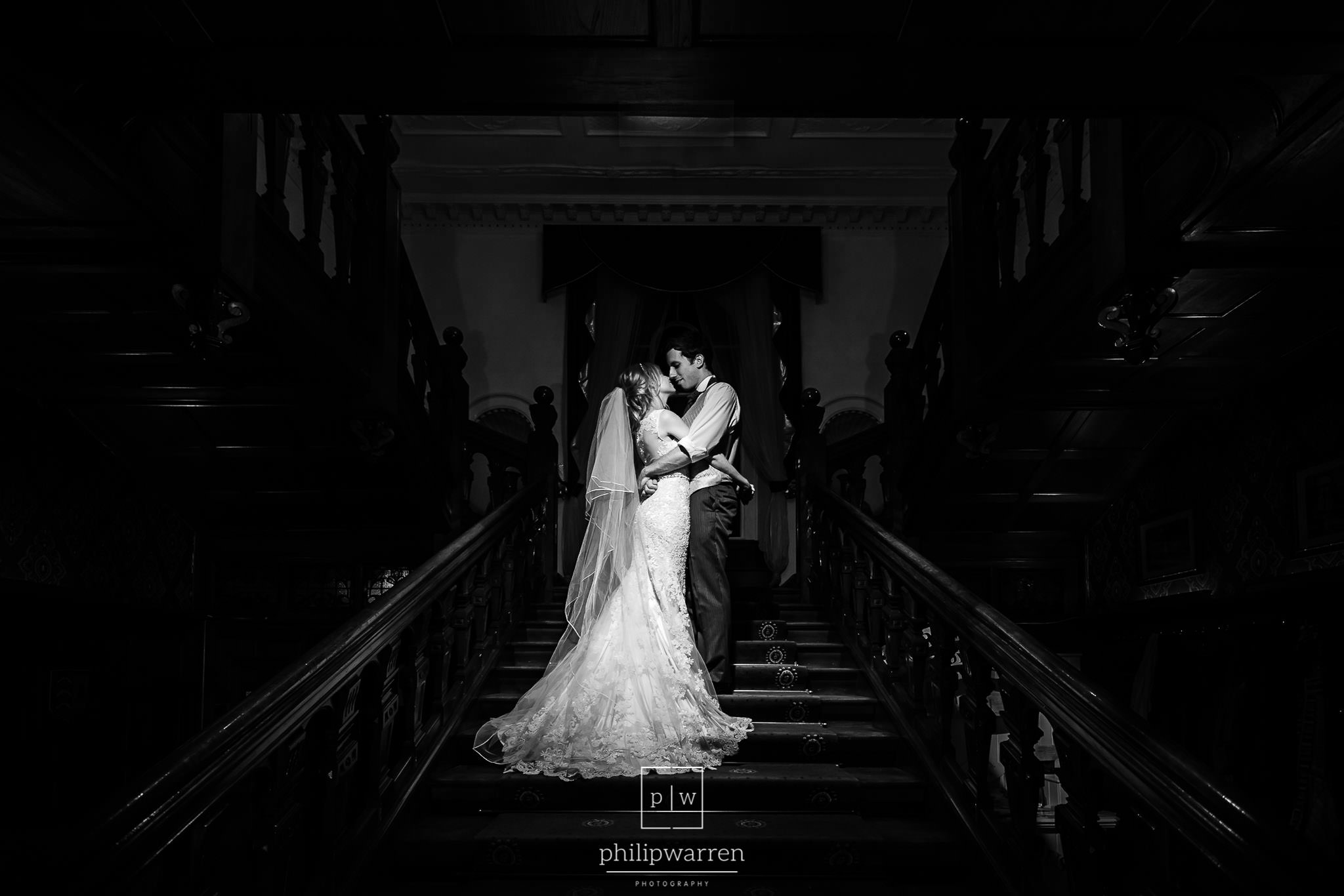 wedding photo on the stairs at court colman