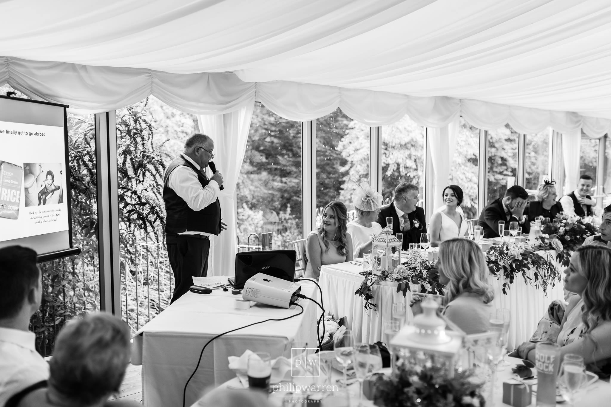 father of the groom making his speech