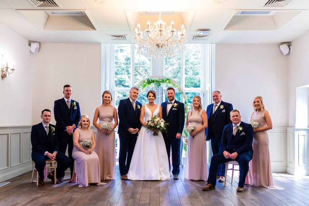 wedding party photo at bryngarw house