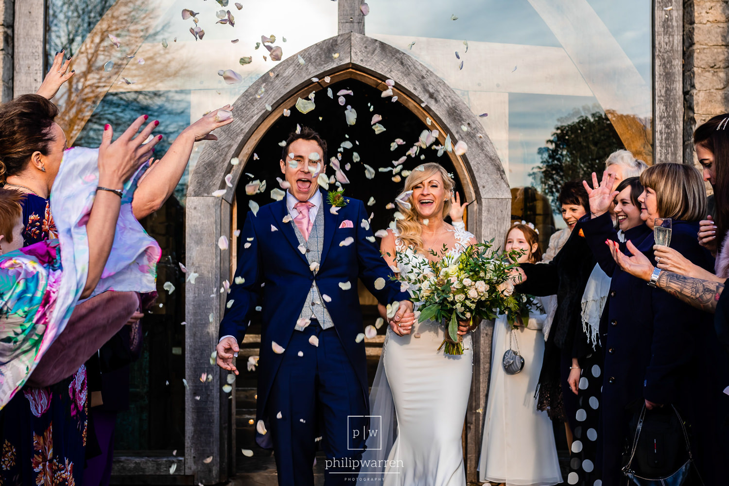 confetti photo outside cripps barn
