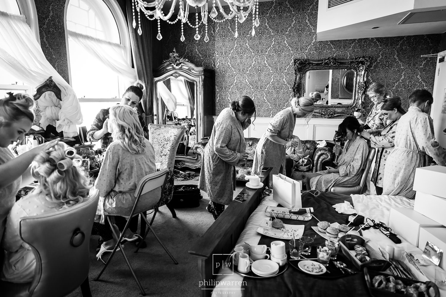 getting ready before the wedding at the exhchange hotel cardiff