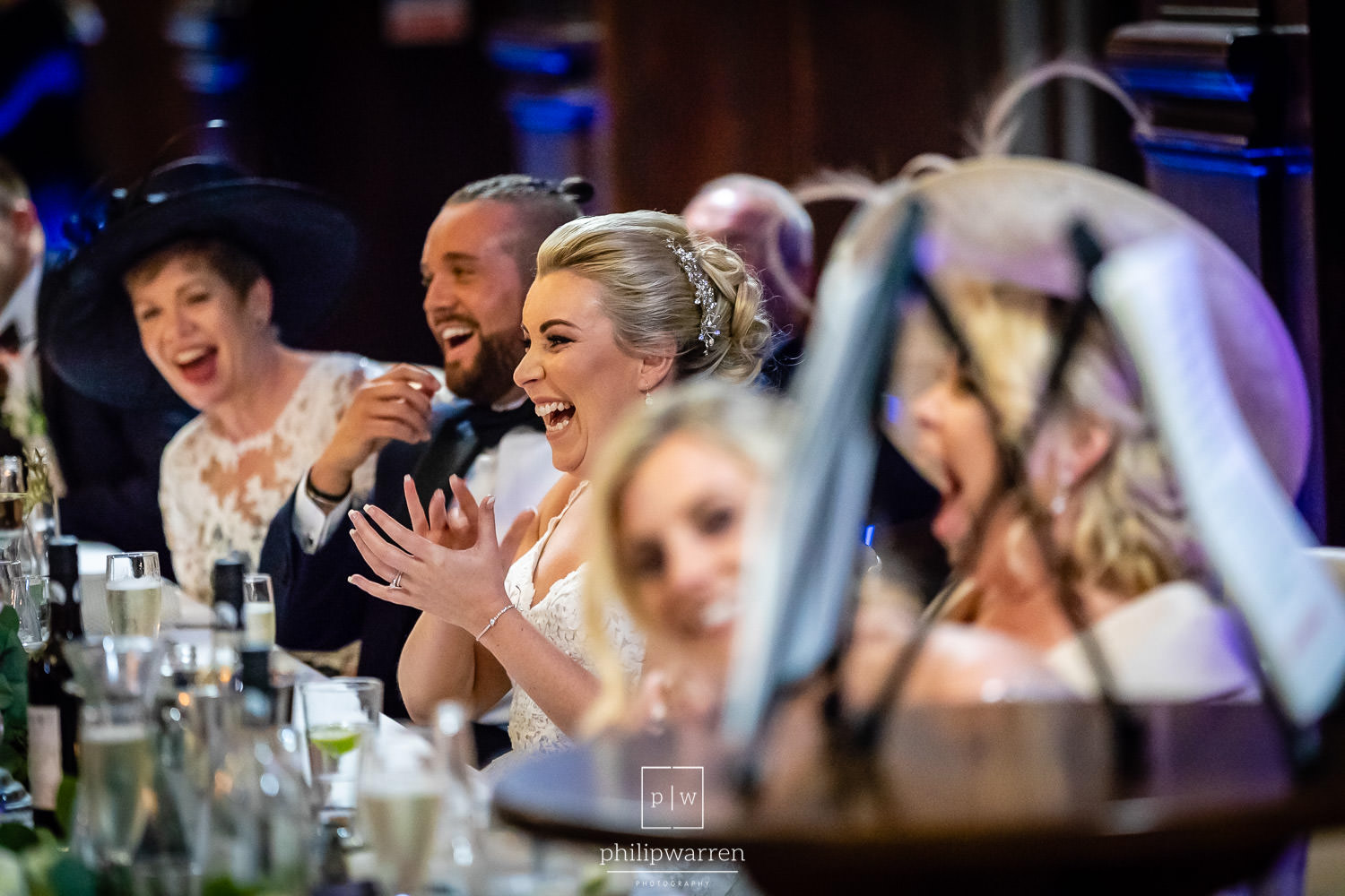 top table laughing during the speeches