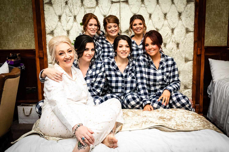 bride and bridesmaids in matching pyjamas