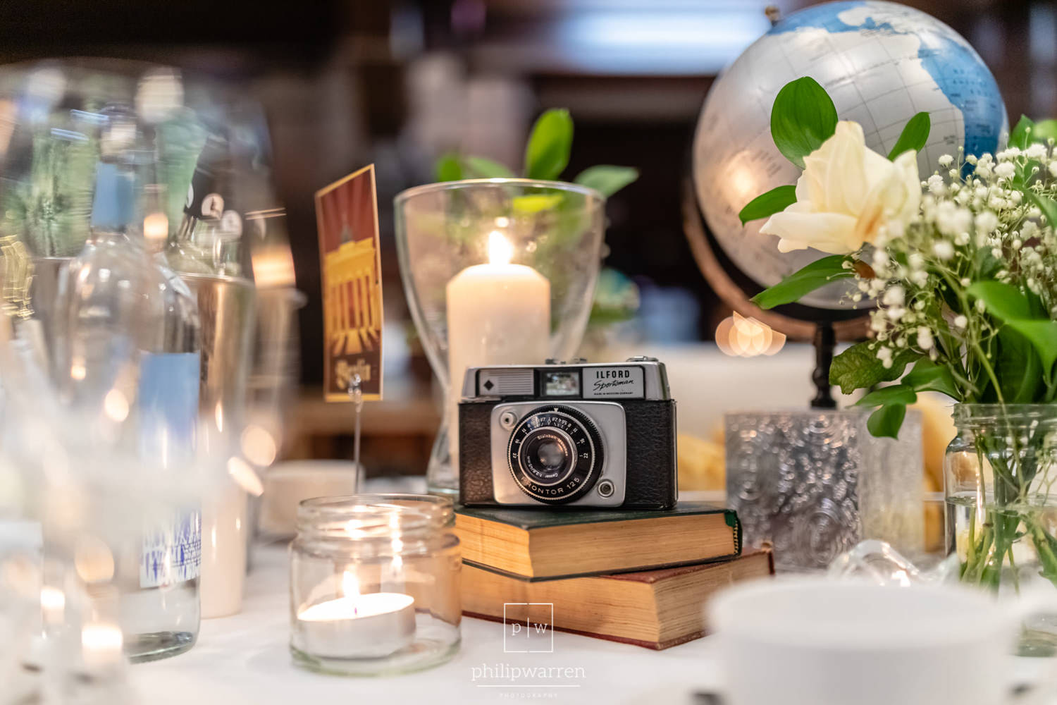 camera on wedding table center