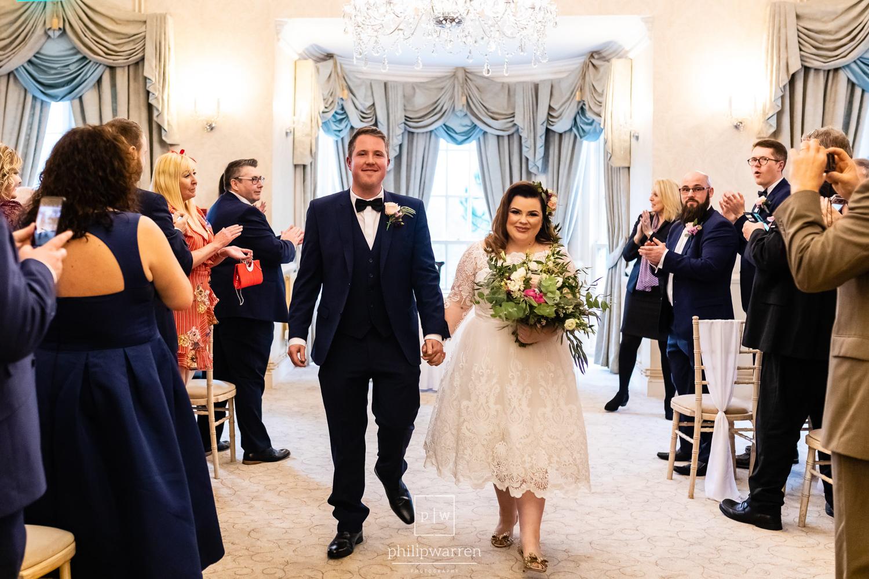 bride and groom just married in de courceys manor