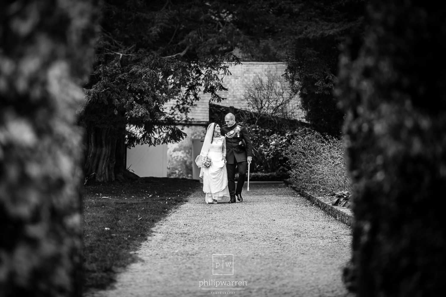 bride and groom in grounds of fonmon castle