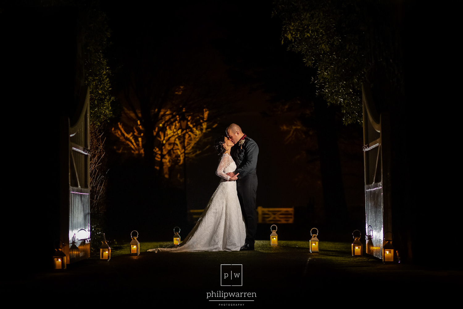 night wedding photo at fonmon castle grounds