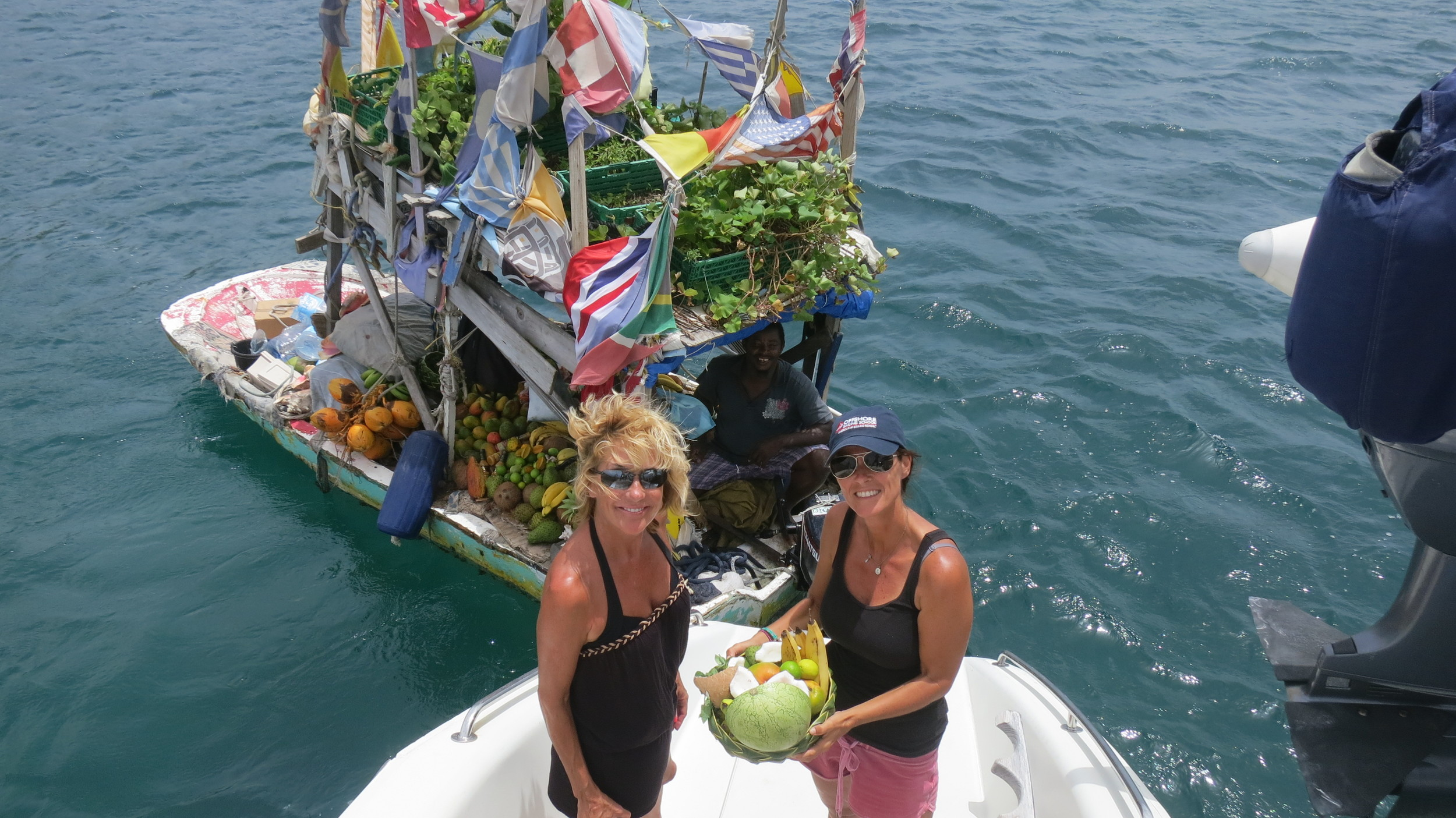 Buying local produce from Gregory.  Rodney Bay, St. Lucia.