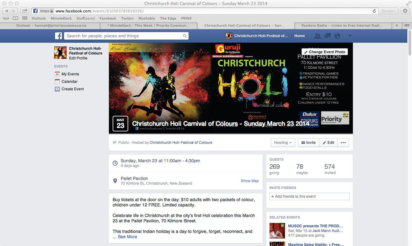The Facebook event listing was an effective promotional tool.