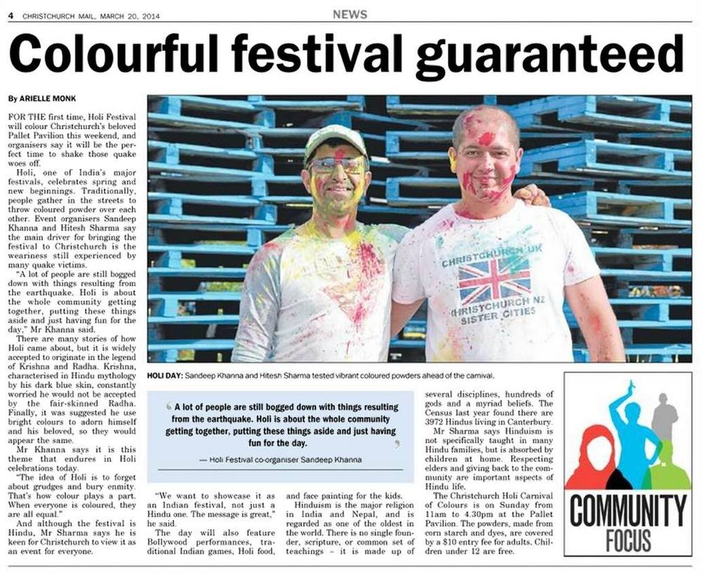 Pre-event article in the Christchurch Mail.
