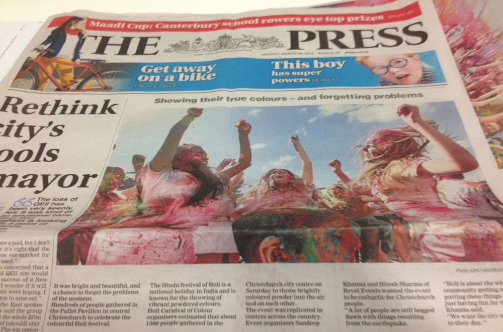 Post-event front page feature in The Press.