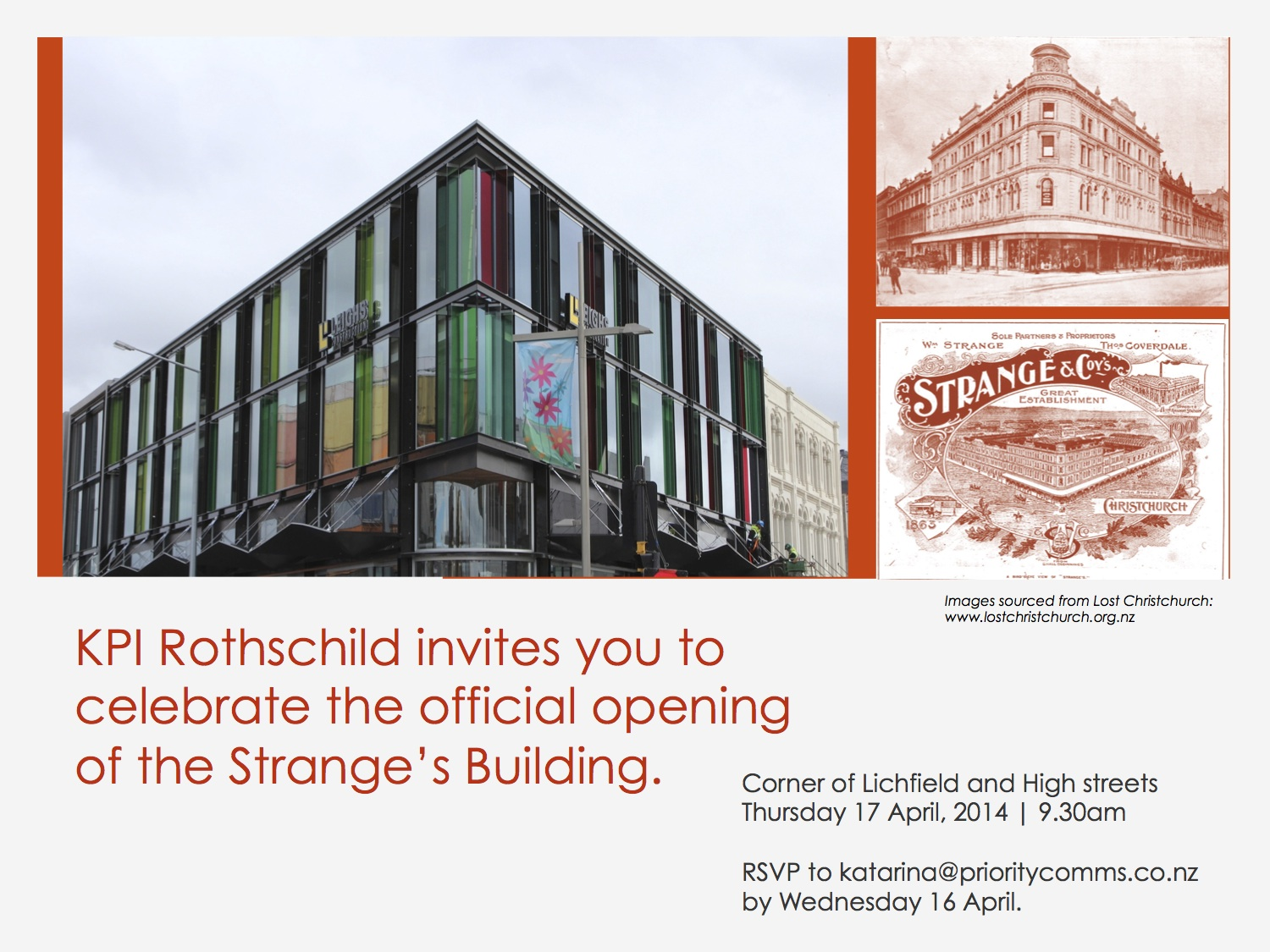 An invite we created for the official opening of the Strange's Building.
