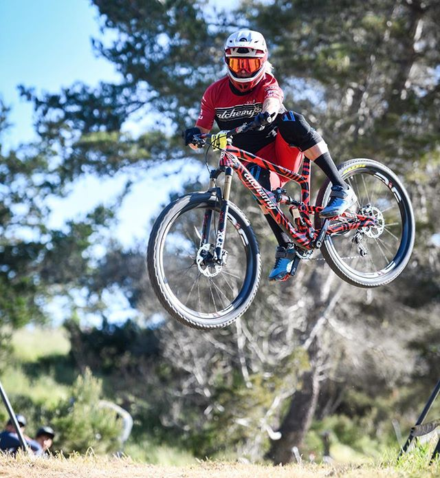 @kelleymtb getting saucy in the DH practice today. . . . #seaotterclassic #downhill #race #mtb #air #hangtime #liftoff #style #float #dirt #bike #ride #dh #saucy #steezy