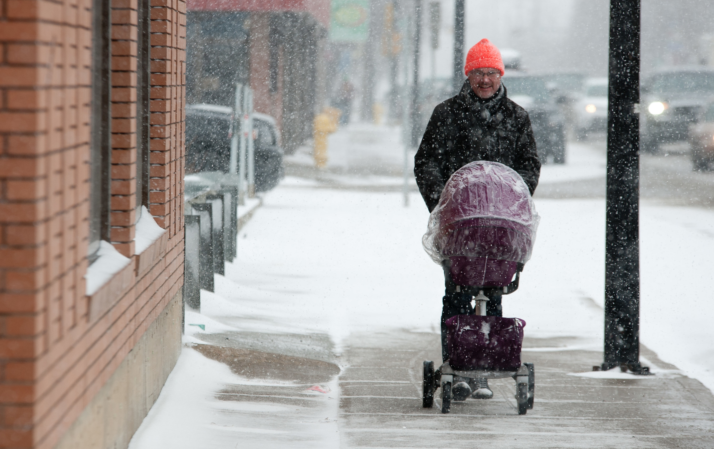 Weather features are a thing, and the last gasp of winter was felt pretty heavily in Lloyd. I went downtown and found this guy out with his stroller, and this was the best shot out of the set. I later found out he was heavily Norwegian and was visiting his daughter who now works in Lloydminster. He was taking his granddaughter out for a walk. Classy Viking grandpa.