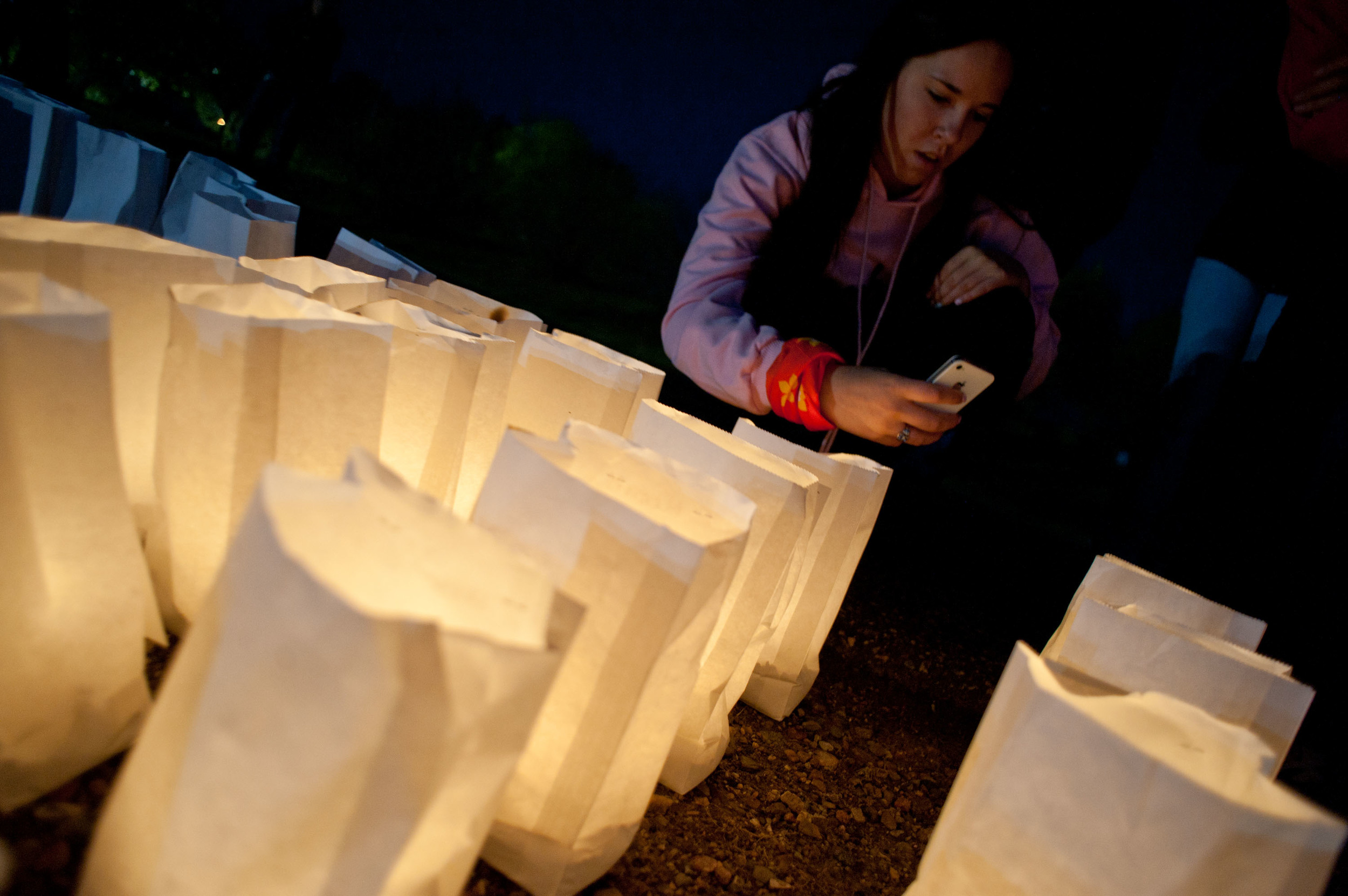 Luminaries are lit up along the waters of the lake in Bud Miller Park during the Lloydminster Relay for Life. Friday May 30, 2014. James Wood/Lloydminster Meridian Booster/QMI Agency
