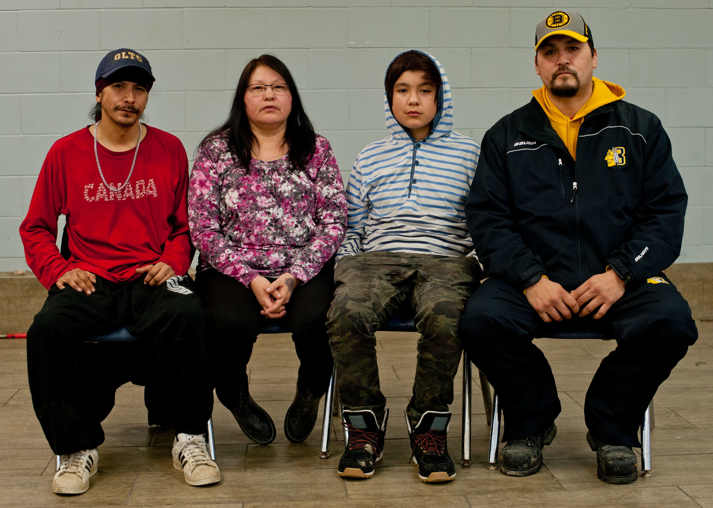 From left to right: Violet's son Darren Heathen, her sister Ruby Whitstone, Violet's youngest son Levi Heathen, and her oldest surviving son, Jeff Heathen. Photo by James Wood/Meridian Booster/Postmedia Network