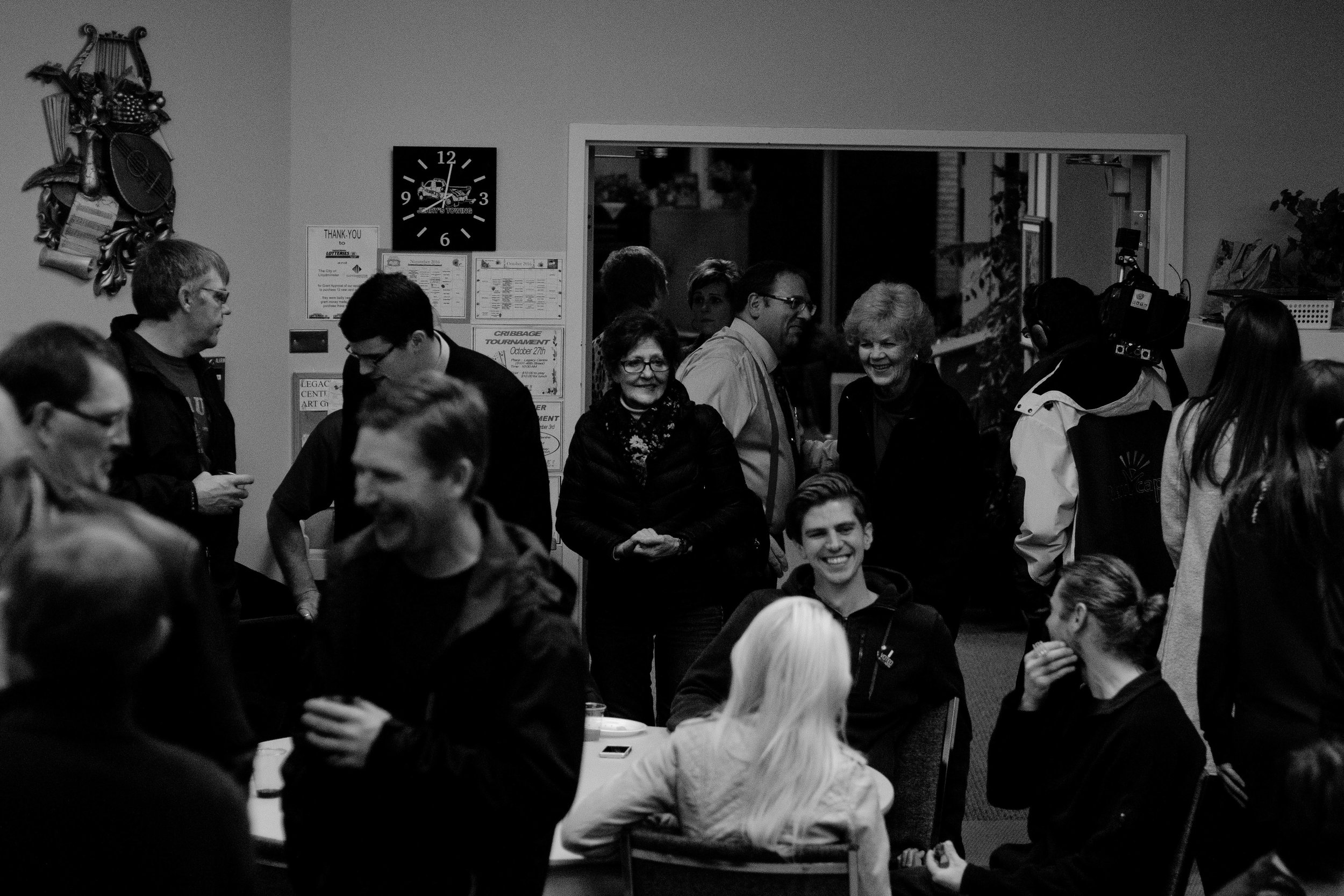 Once voting had nearly wrapped up, I left the radio station to head down to the Aalber's election gathering. This was being at the Legacy Centre, a community centre conveniently close to City Hall. Even before the results of the vote were known, there were a lot of happy people inside.
