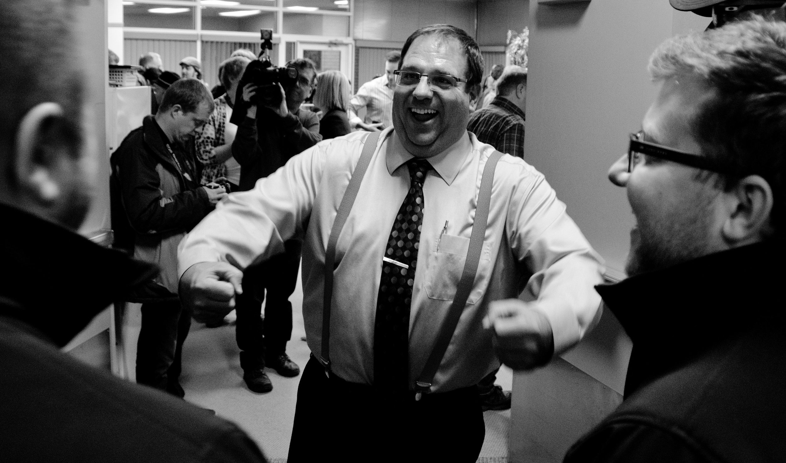 Aalbers was feeling fairly happy as well. Here, he gestures while speaking to attendees outside the front doors of the room rented in the Legacy Centre by his campaign.