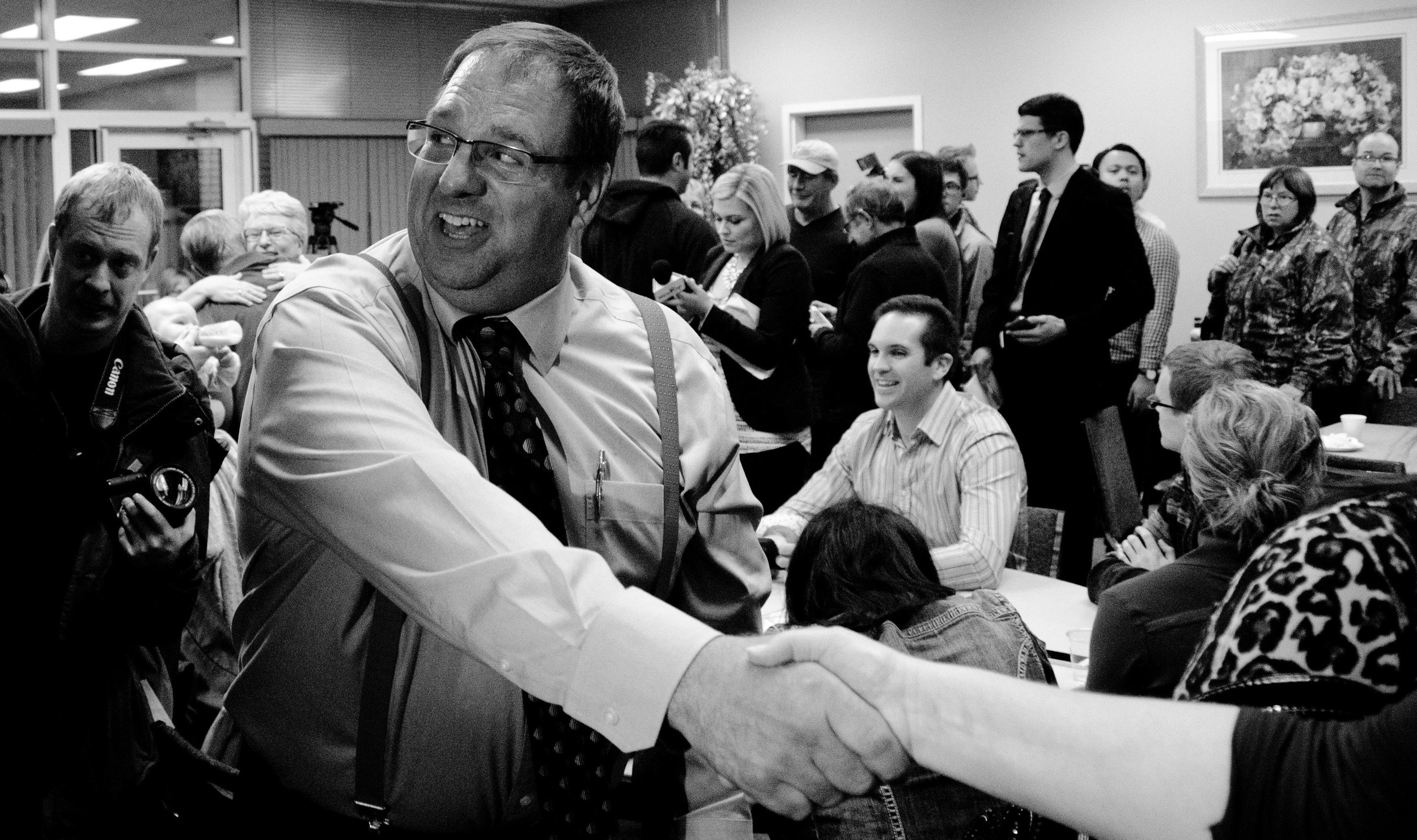 Once the website was back up, the results were immediately available. They showed a landslide win for Aalbers, and I had to run back from the front door of City Hall to the Legacy Centre. I got back in time to capture moments from the celebration in the room.