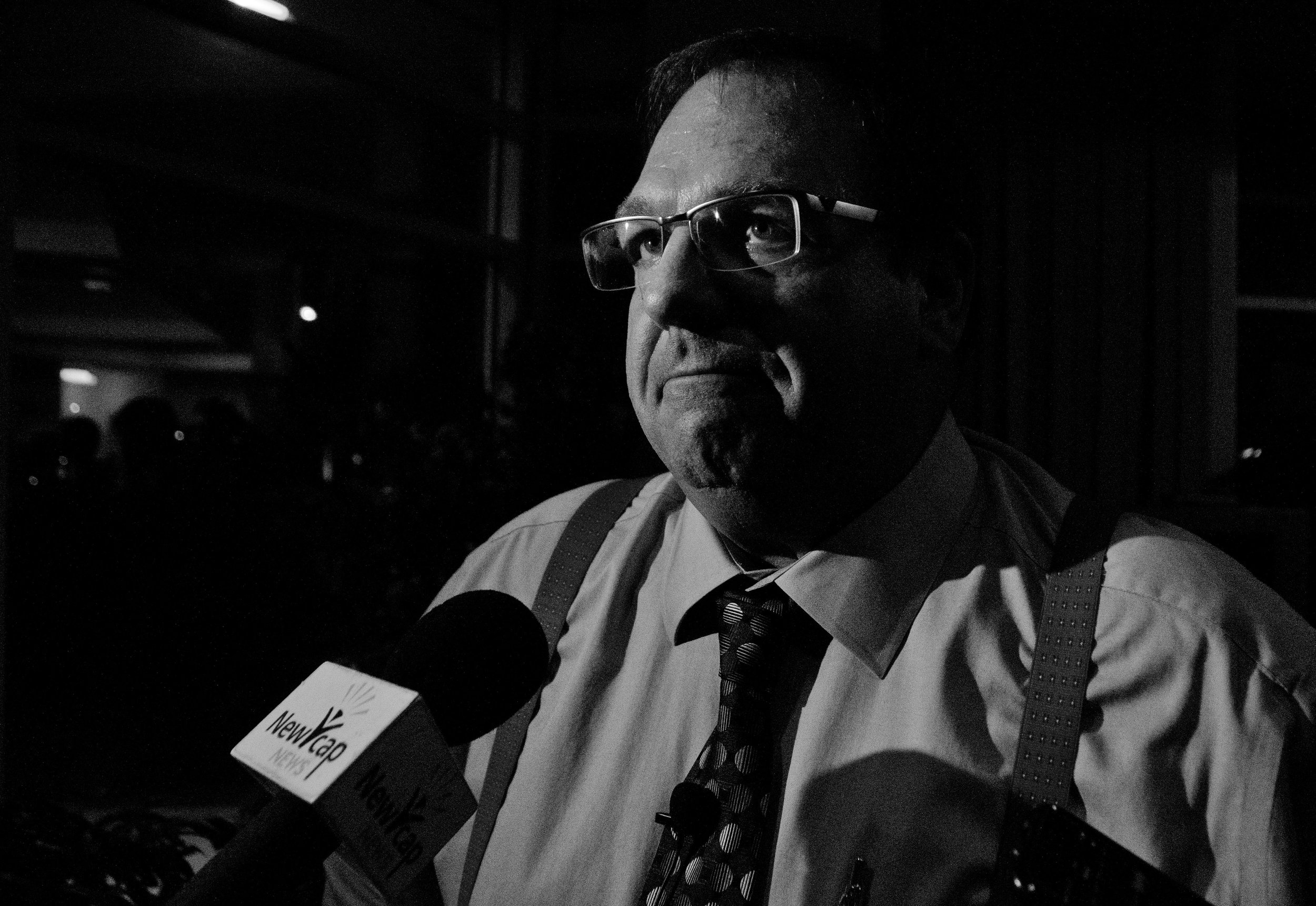 Aalbers spoke to the press after his speech. This is one of the frames from that discussion.
