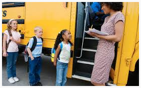 Kids get on a school bus for a field trip. Would you enjoy being a chaperone?