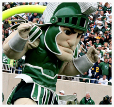 """Sparty"" is the Spartan mascot from Michigan State University (photo source: msu.edu)."