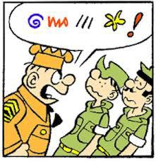 Here, Sgt. Snorkel (nickname: Sarge) yells at Pvt. Bailey and a fellow soldier.The colorful symbols in the speech bubble signify strong language.