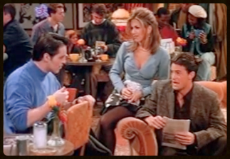 Joey comes to Central Perk to tell his friends about a possible acting job.