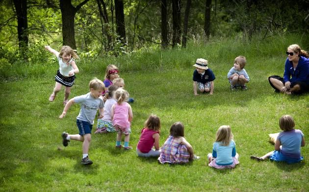 Children in Minnesota playing Duck-Duck-Gray Duck (photo source: Minneapolis Star-Tribune)