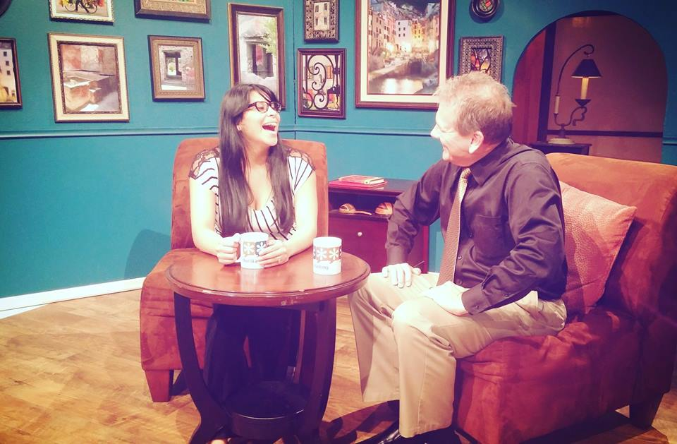 Paola Mendivil shares a laugh on set with Alan during the Hispanic Chamber's October 2015 after-hours event. HCCWM members gathered at WKTV to network and to learn about community media. During the event, FLYB recorded an interview with Chamber member Natanael Krische about his immigrant journey from Guatemala and about running a small business in Grand Rapids.