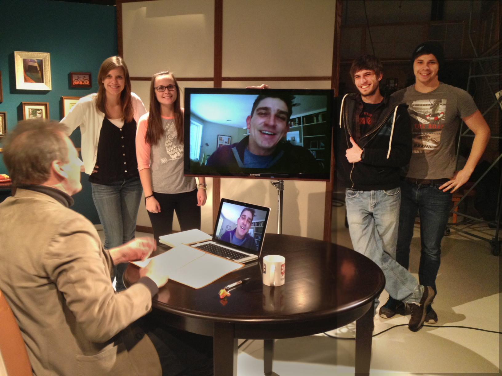 2013 Inaugural Poet Richard Blanco poses after his Skype interview with the FLYB crew (L to R): Alyssa, Ellen, Jake, and Artie.