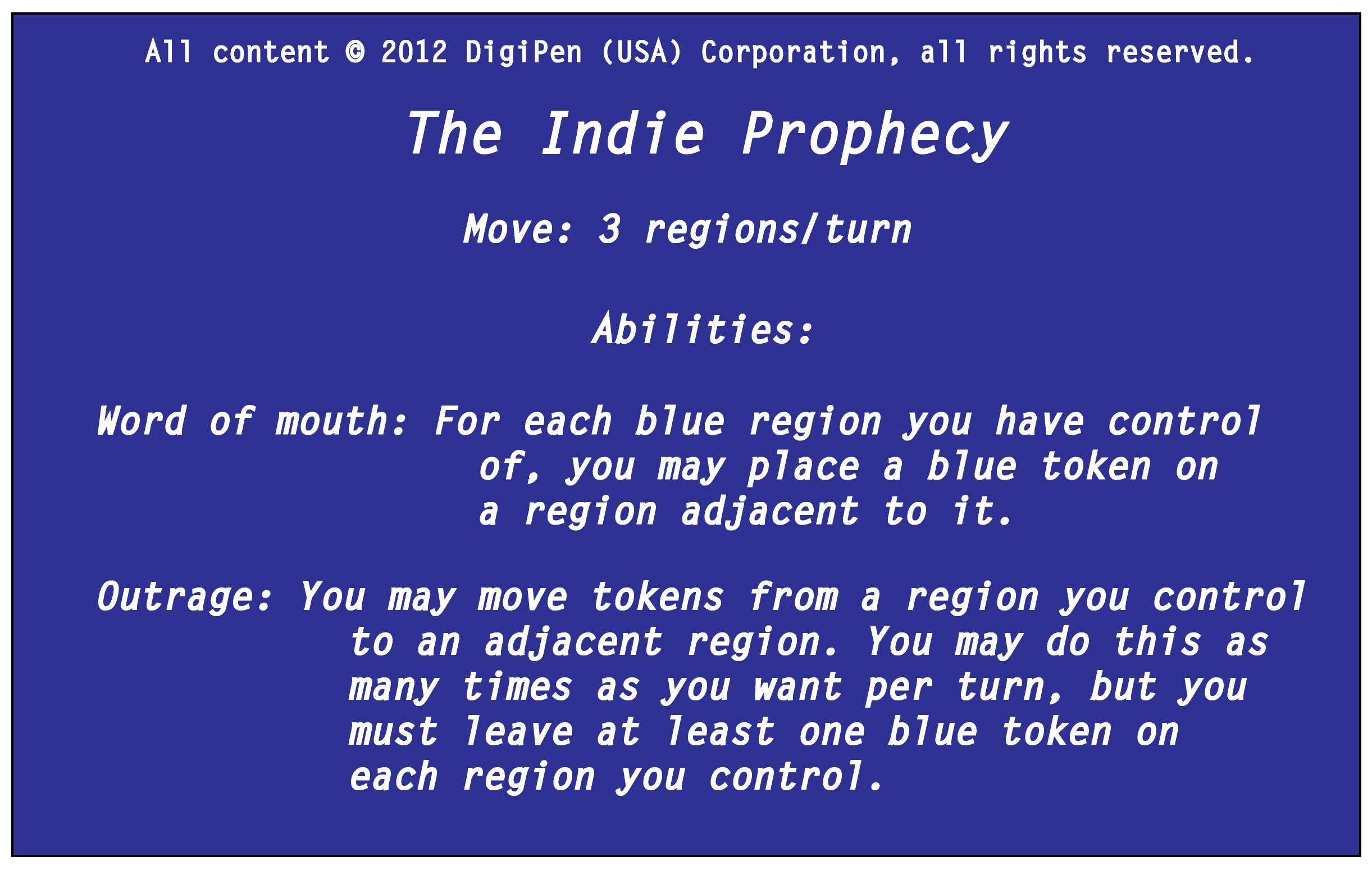 Player's Card: Indie Prophecy