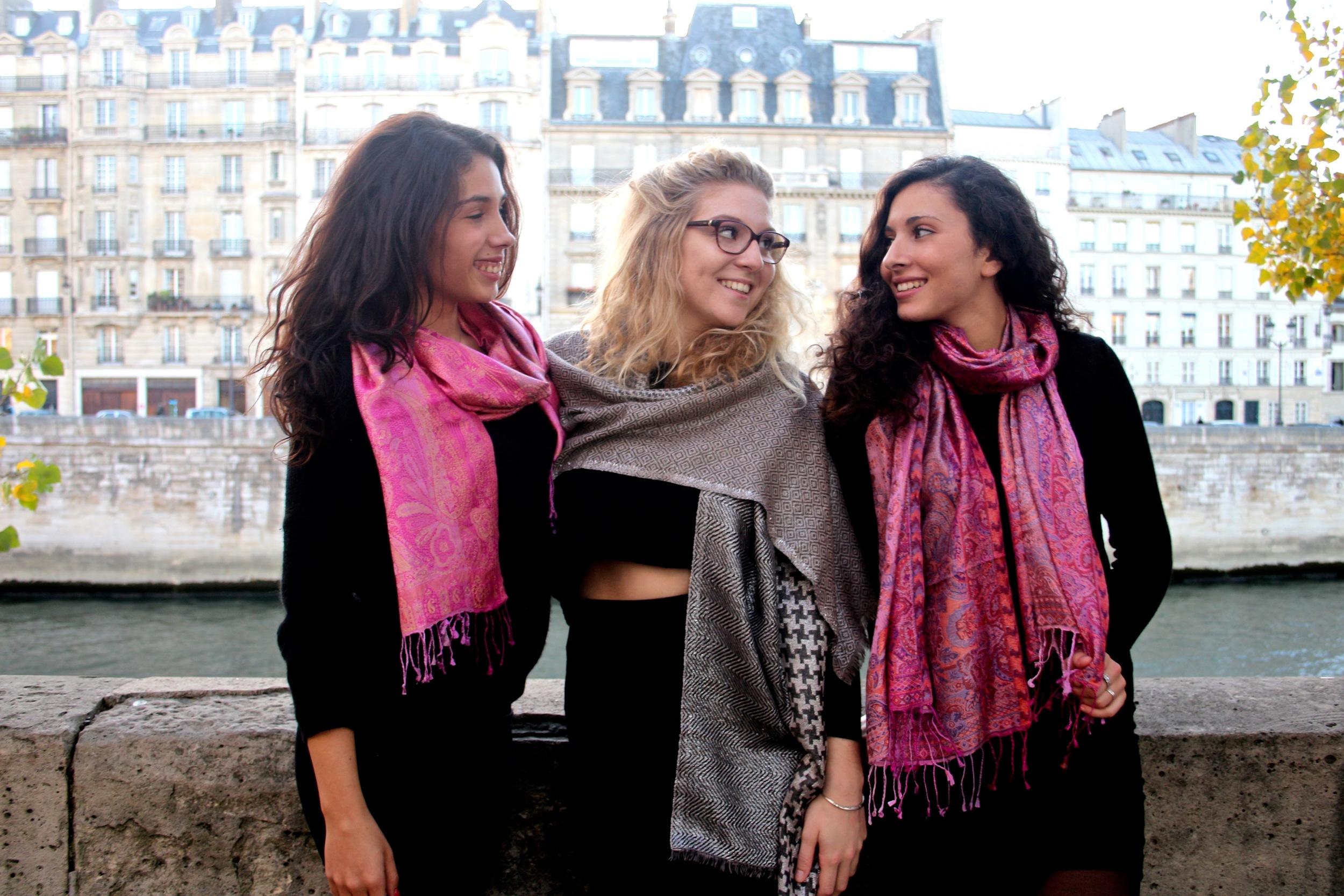 Sarah, Julie, & Salome along the Seine, Paris, France  Wearing: Silk Jamavar Scarves