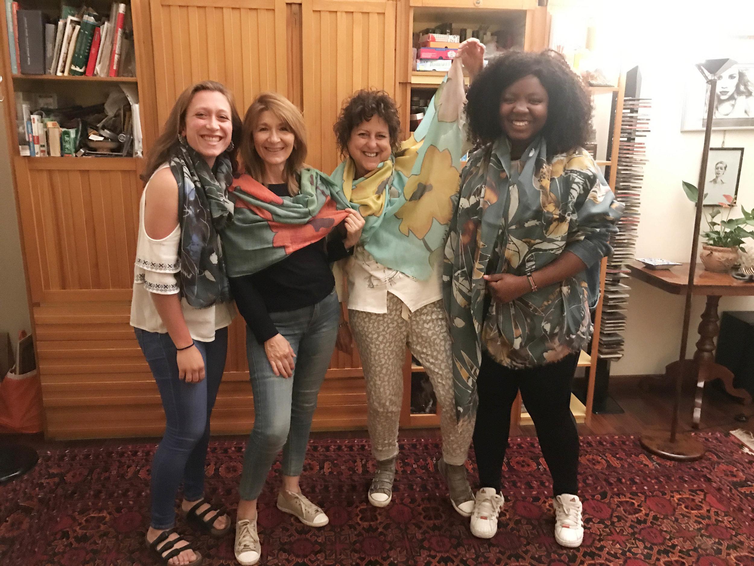 """Sarah's """"Italian family"""" in Florence, Italy  Modern Flower & Rainforest Sheer Merino Wool Scarf"""