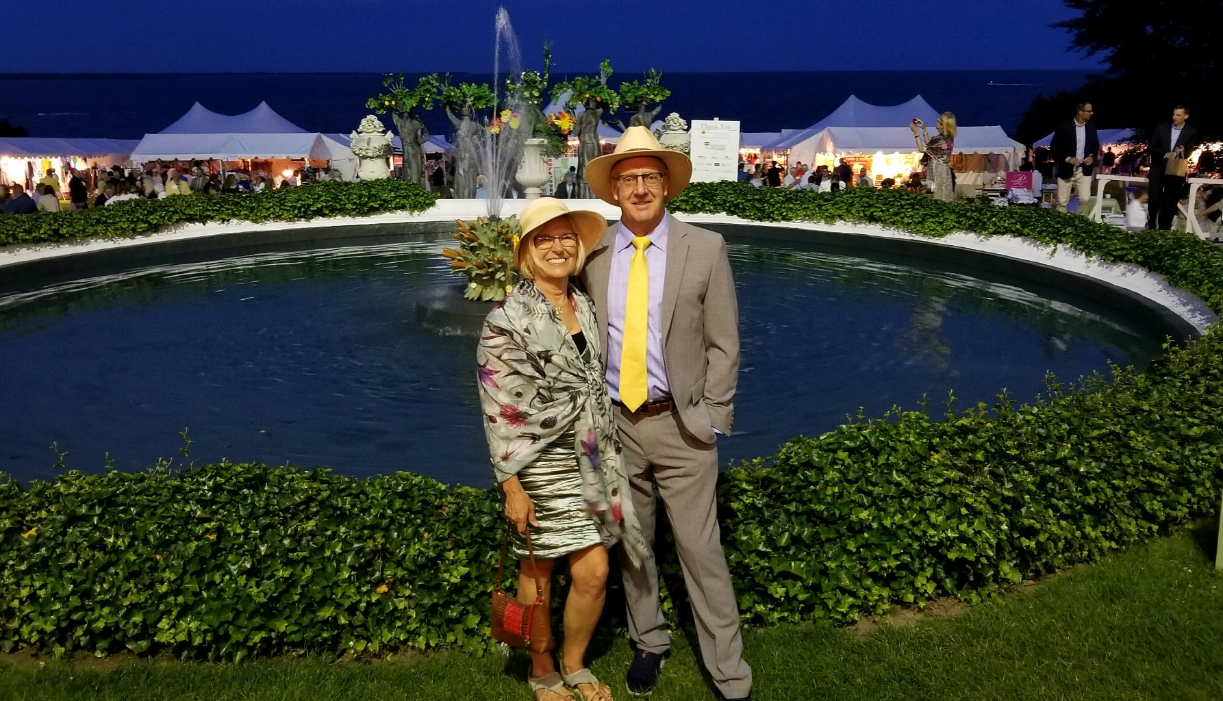 Dot wearing her Mint Thistle Merino Wool and Silk Scarf at the Newport Flower Show!
