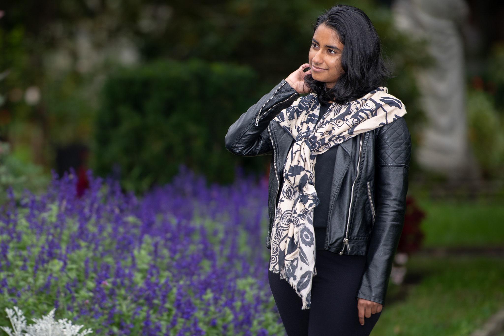 Sukanya wearing Black & Tan Female Flower Power Scarf at Elm Bank!
